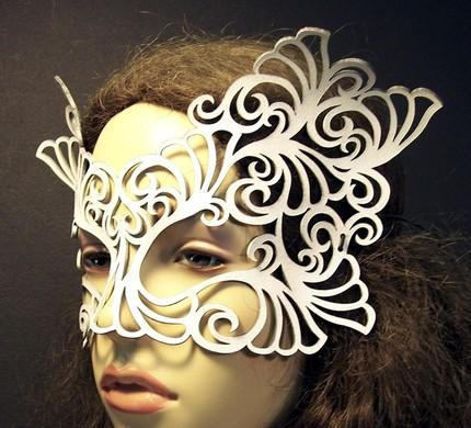 Above: white lacy mask and art noveau circlet