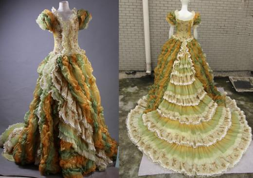 victorian green gold ball gown