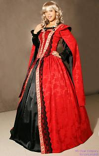 red elizabethan dress
