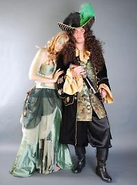 Siren and captain pirate costumes