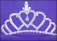 tiara silver hearts